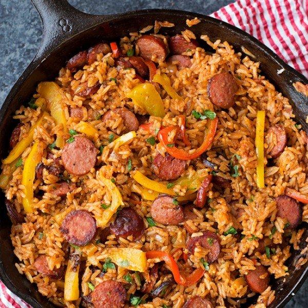 Sausage, Pepper and Rice Skillet #sausage #dinner #recipe