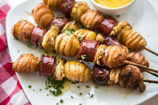 Oktoberfest Sausage Skewers #sausage #dinner #recipe