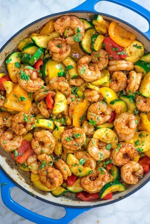Easy Shrimp and Vegetable Skillet #shrimp #recipe #dinner #lunch #snack