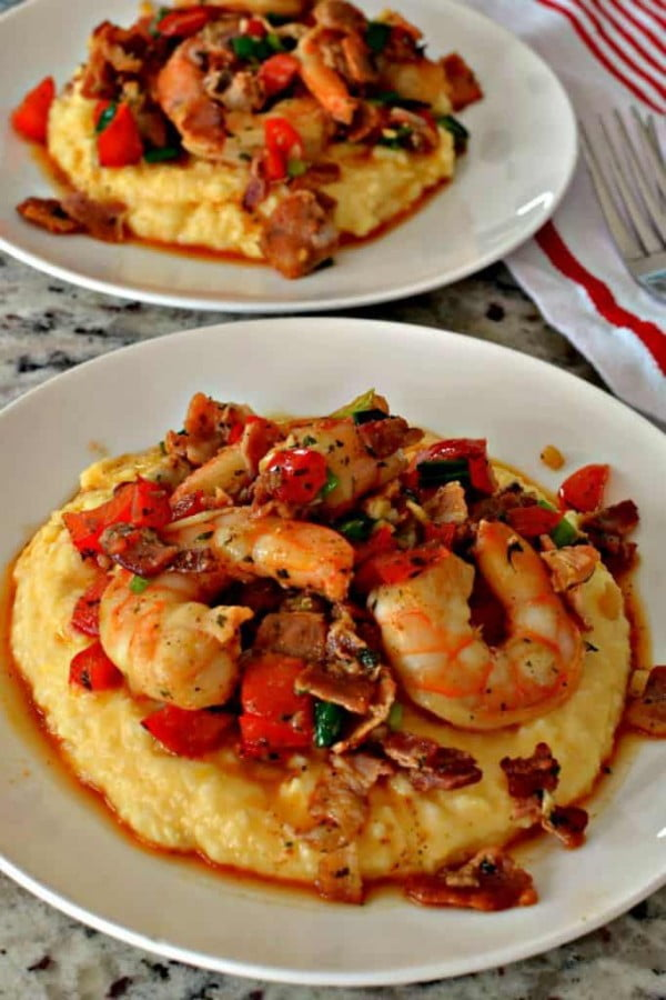 Shrimp and Grits Southern Style with Cheesy Grits #shrimp #recipe #dinner #lunch #snack