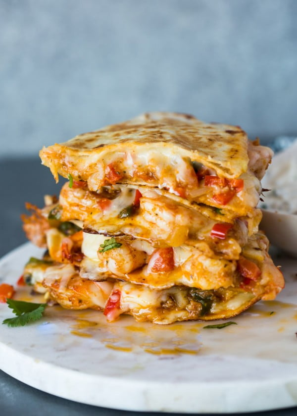 The Best Shrimp Quesadillas #shrimp #recipe #dinner #lunch #snack