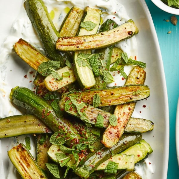 Roasted Baby Zucchini with Lemon Labneh Recipe #vegetables #side #dinner #recipe