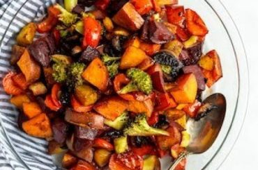 Balsamic Honey Roasted Vegetables #vegetables #side #dinner #recipe