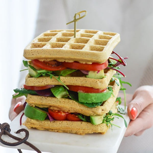 CHICKPEA WAFFLES (GF, VEGAN) #vegetarian #healthy #breakfast #recipe