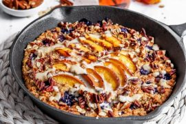 Blueberry Nectarine Baked Porridge #vegetarian #healthy #breakfast #recipe