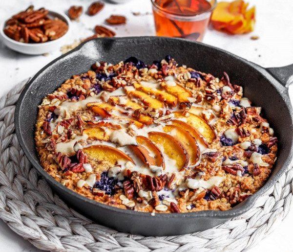 Blueberry Nectarine Baked Porridge #vegetarian #healthy #breakfast #recipe