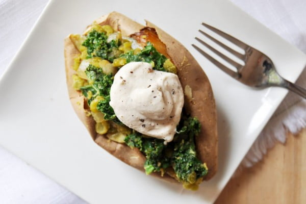 Lentil, Kale Stuffed Sweet Potatoes & Garlic Tahini Cream, Vegan Gluten-Free #vegetarian #healthy #breakfast #recipe