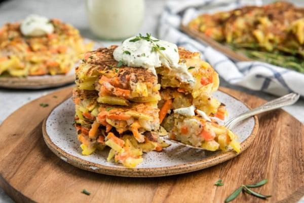 Root Vegetable Pancakes (Gluten-Free + Vegan) #vegetarian #healthy #breakfast #recipe