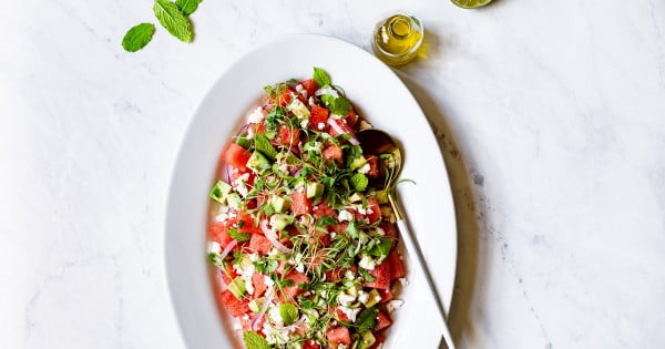 Watermelon Avocado Salad with Feta and Mint #vegetarian #salad #recipe #healthy