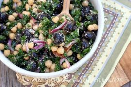 Kale, Olive and Chickpea Salad | Let's Dish Recipes #vegetarian #salad #recipe #healthy