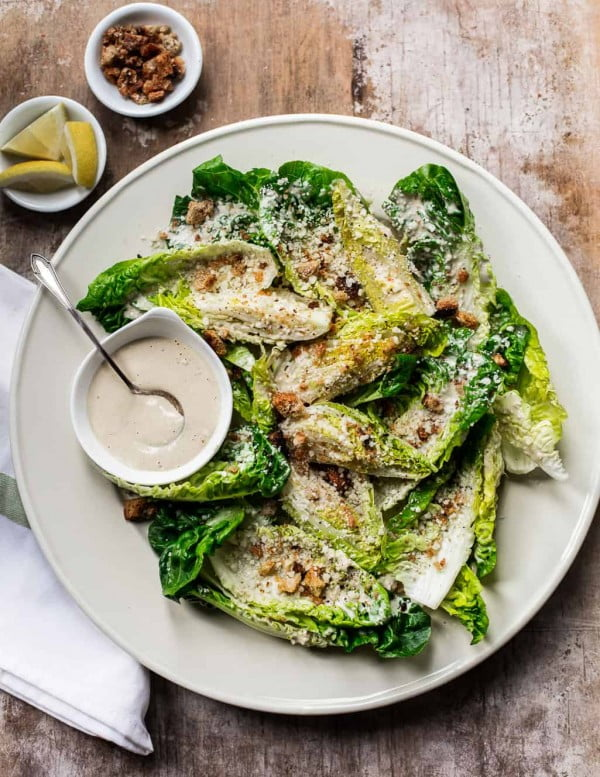 Tahini Caesar Salad with Olive Oil Breadcrumbs #vegetarian #salad #recipe #healthy