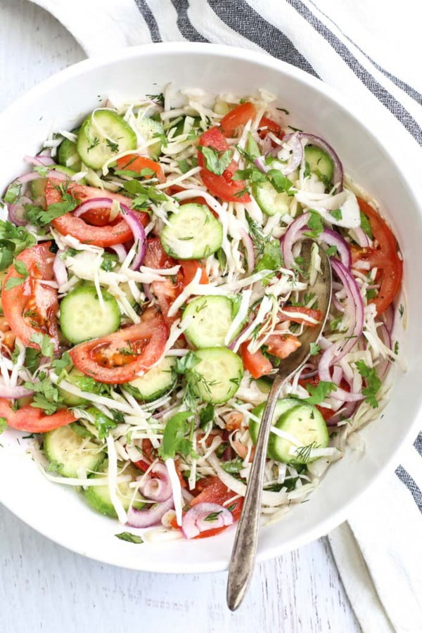 Cabbage Cucumber Tomato Salad (Spring Salad) #vegetarian #salad #recipe #healthy
