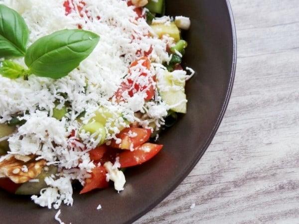 Tomatoes, Cucumber and Feta Cheese Summer Salad #vegetarian #salad #recipe #healthy