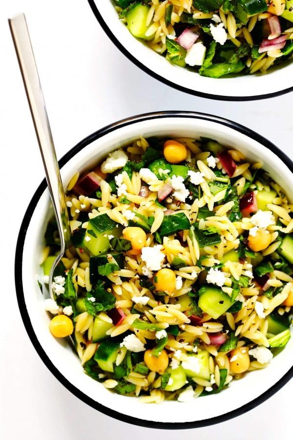 Herb-Lovers Lemony Orzo Salad #vegetarian #salad #recipe #healthy