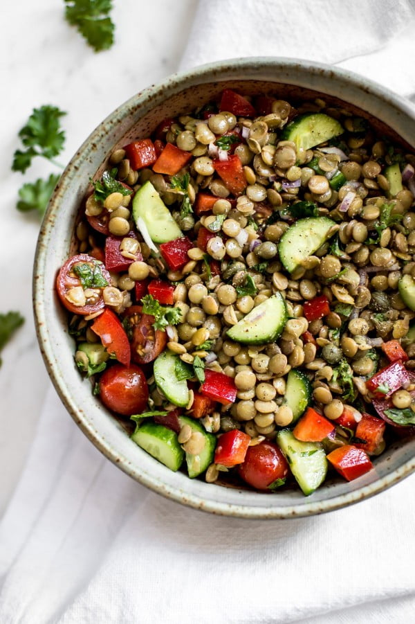 Fresh and Easy Green Lentil Salad Recipe #vegetarian #salad #recipe #healthy