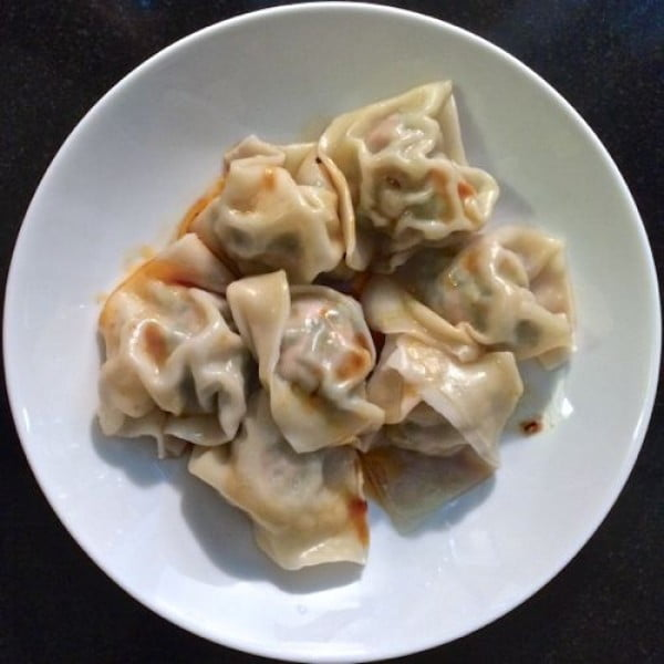 Homemade Greens-Filled Pork Dumplings #dumplings #dinner #recipe