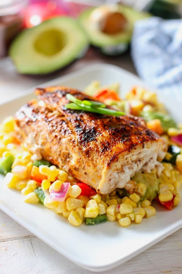 Easy Grilled Mahi with Avocado and Corn Salsa #grilled #fish #grill #dinner #recipe