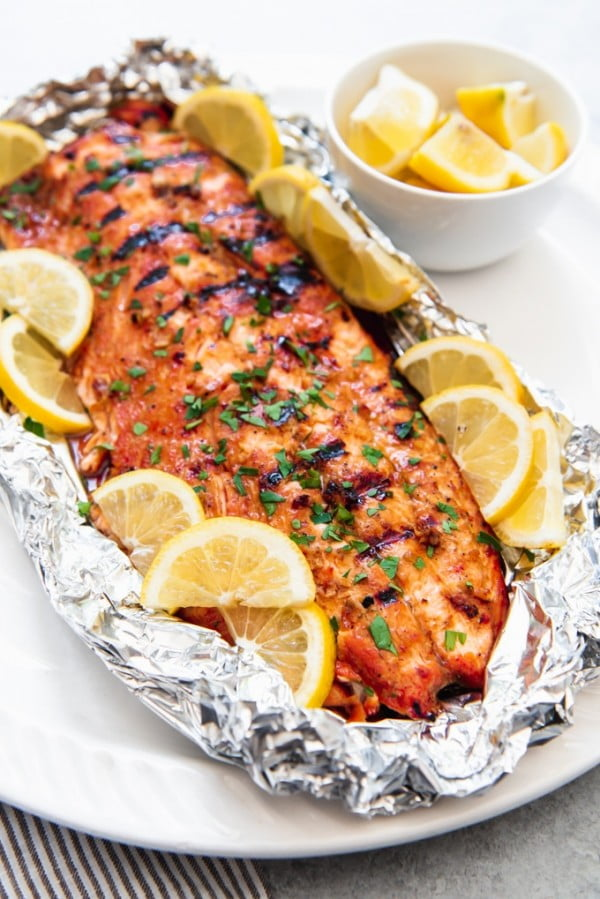 Grilled Soy Brown Sugar Salmon in Foil #grilled #fish #grill #dinner #recipe