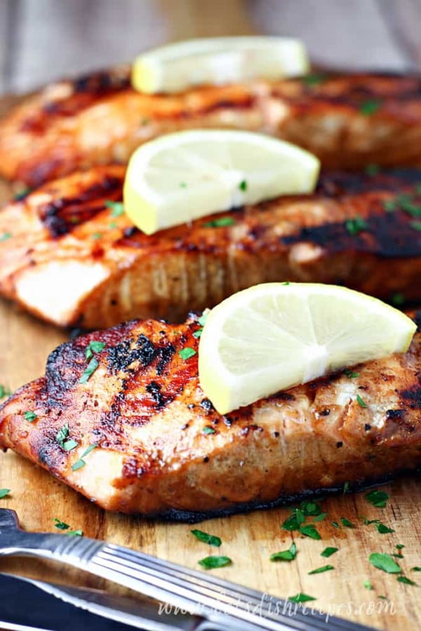 Soy Sauce and Brown Sugar Grilled Salmon   Let's Dish Recipes #grilled #fish #grill #dinner #recipe