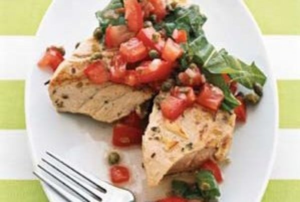 Grilled Tuna With Tomato Salsa #grilled #fish #grill #dinner #recipe