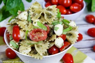 4 Ingredient Caprese Pesto Salad #pasta #salad #recipe #lunch #dinner