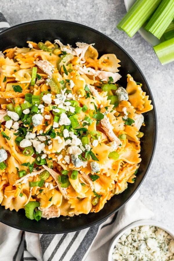 Buffalo Chicken Pasta Salad #pasta #salad #recipe #lunch #dinner