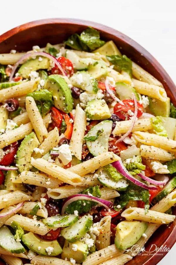 Lemon Herb Mediterranean Pasta Salad #pasta #salad #recipe #lunch #dinner