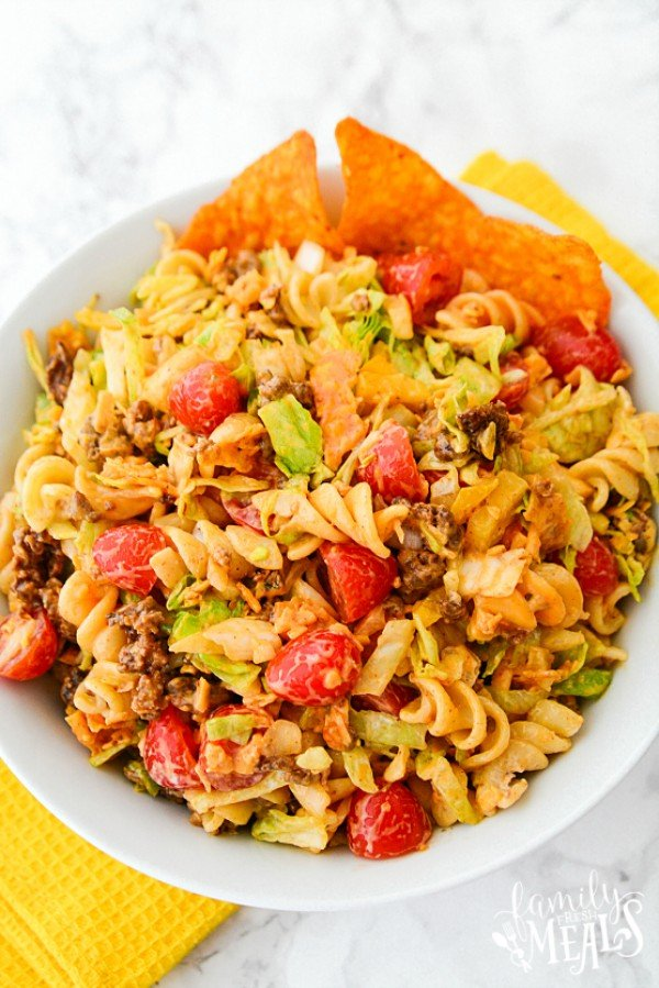 Easy Taco Pasta Salad #pasta #salad #recipe #lunch #dinner