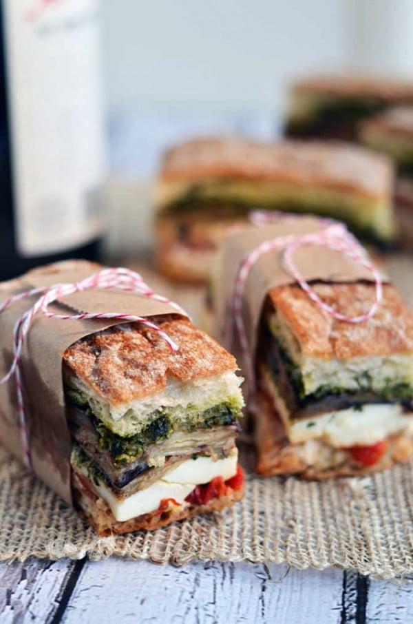 Eggplant, Prosciutto, & Pesto Pressed Picnic Sandwiches #picnic #sandwich #recipe #snack