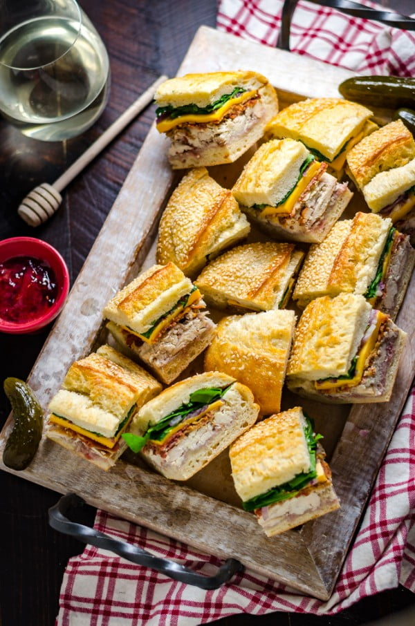 Chicken Bacon Pressed Picnic Sandwiches with Raspberry Honey Mustard #picnic #sandwich #recipe #snack