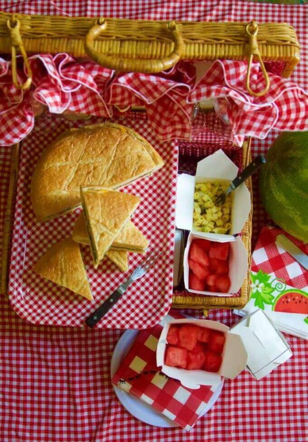 Picnic Basket Pressed Sandwiches, great to make ahead! #picnic #sandwich #recipe #snack