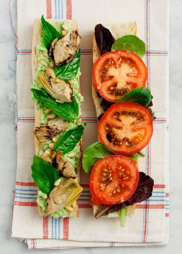 Tomato, Basil & Artichoke Picnic Sandwich Recipe #picnic #sandwich #recipe #snack