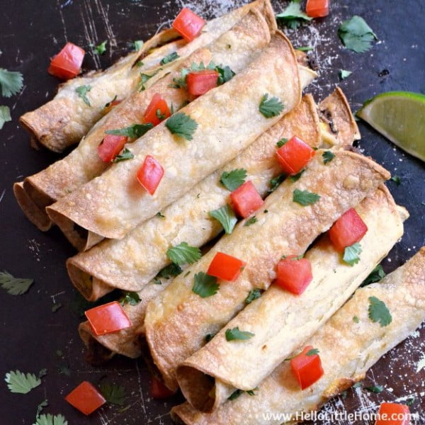 Baked Black Bean Taquitos Recipe #taquitos #mexican #mexicanfood #snack #lunch #recipe