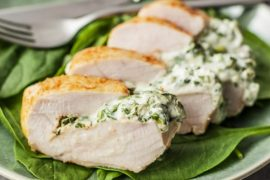 Skinny Spinach Stuffed Chicken Breast #weightwatchers #recipe #dinner #healthy